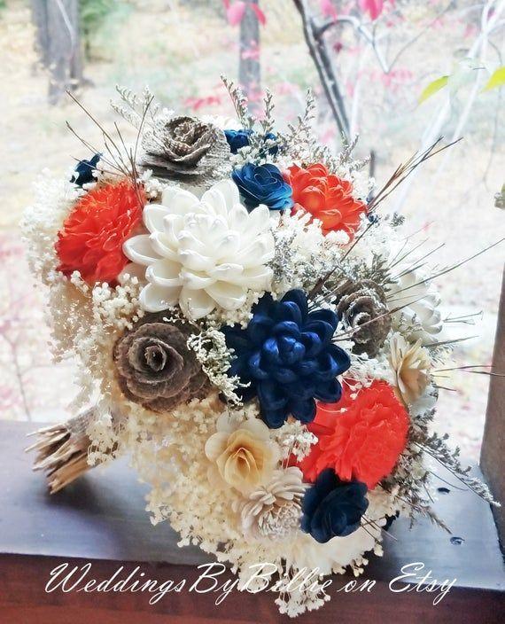 Sola Blue Burnt Orange Sackleinen Sola Bouquet, Hochzeiten Blumen, Herbst Bouquet, Alte ... - #Alte #blue #Blumen #Bouquet #Burnt #herbst #Hochzeiten #orange #Sackleinen #Sola #brautblume
