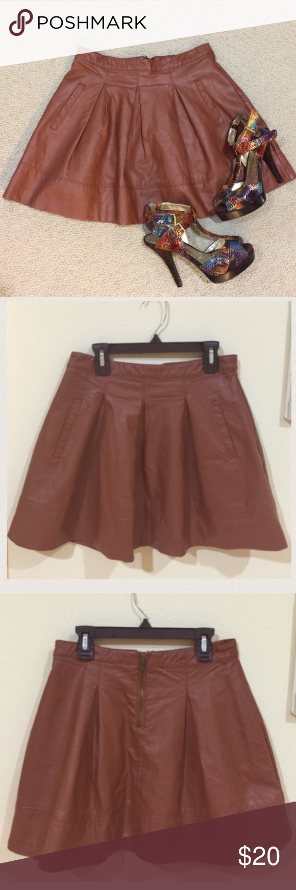 Forever 21 caramel brown faux leather skater skirt gently worn , size S , 15 inches from top to bottom, not leather, very cute on, front pockets , has lining , REASONABLE OFFeRS ACCEPTED Forever 21 Skirts Mini