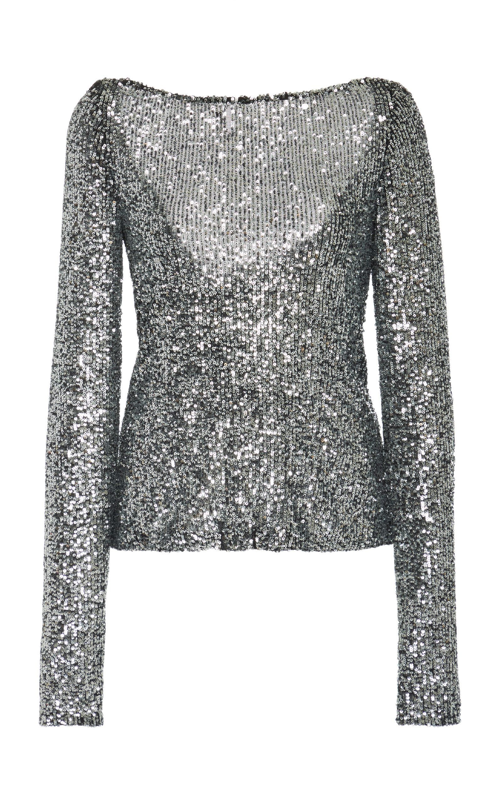 b58c886f Sequined Long Sleeve Open Back Top in 2019 | Fashion Lust | Sequin ...