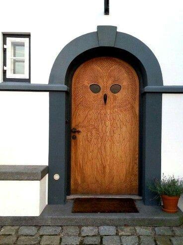 Owl front door in Copenhagen, Denmark