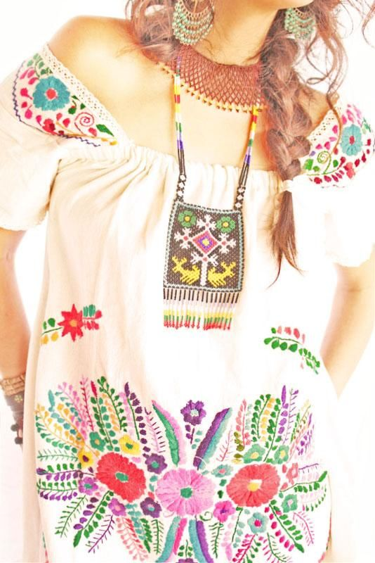 Miguelita Mexican floral embroidered tunic