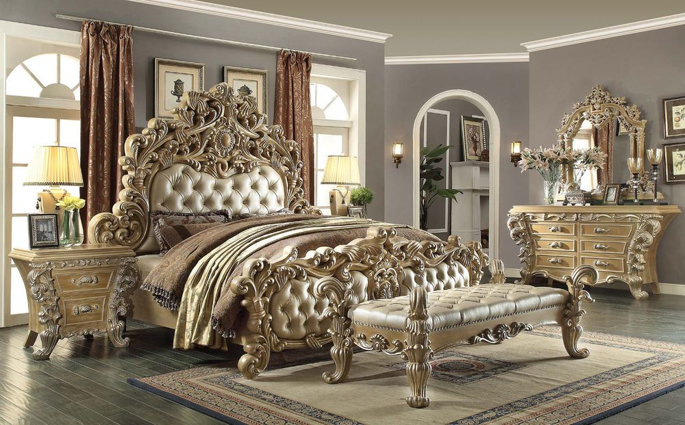 fancy bedroom designer furniture. Homey Design HD-7012 King Dresser Mirror Nightstands Bench Bedroom Set #HomeyDesign Fancy Designer Furniture E