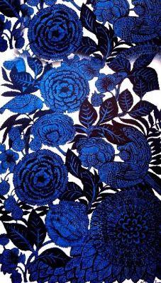 chasingrainbowsforever: Beautiful Textile ~ Cobalt blue floral pattern/design.
