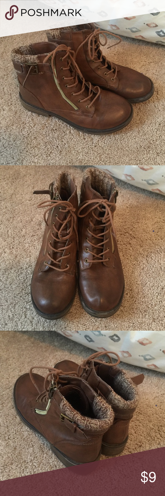 Girls Boots In good used condition. The zipper opens for easy on/off. Left toe appears to have indent from storage. Sweater detail on back of boot opening. Any questions, please ask! Cherokee Shoes Boots