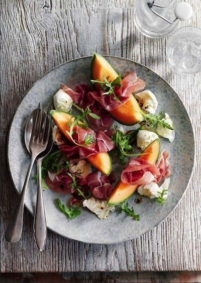 summer melon salad with fig + prosciutto