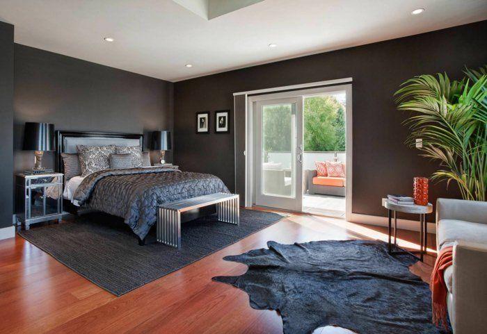 Schlafzimmer Wohnideen ~ Wohnideen schlafzimmer dunkelgraue wände fellteppich