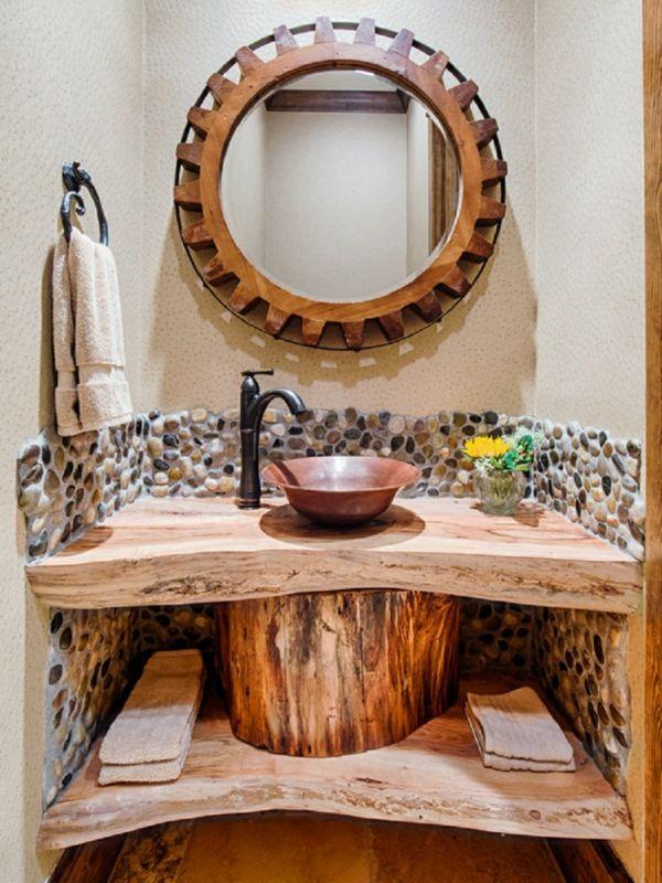 badmöbel-im-landhaus-stil-wunderschöner-spiegel Baños Pinterest - badezimmermöbel holz landhaus