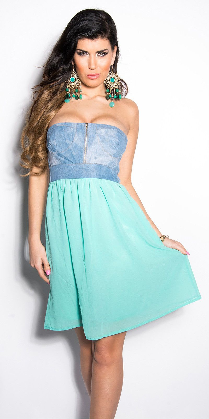 NEW WOMENS LADIES MINT GREEN DENIM AND CHIFFON BANDEAU SKATER DRESS UK 10 12 ff1fed3260