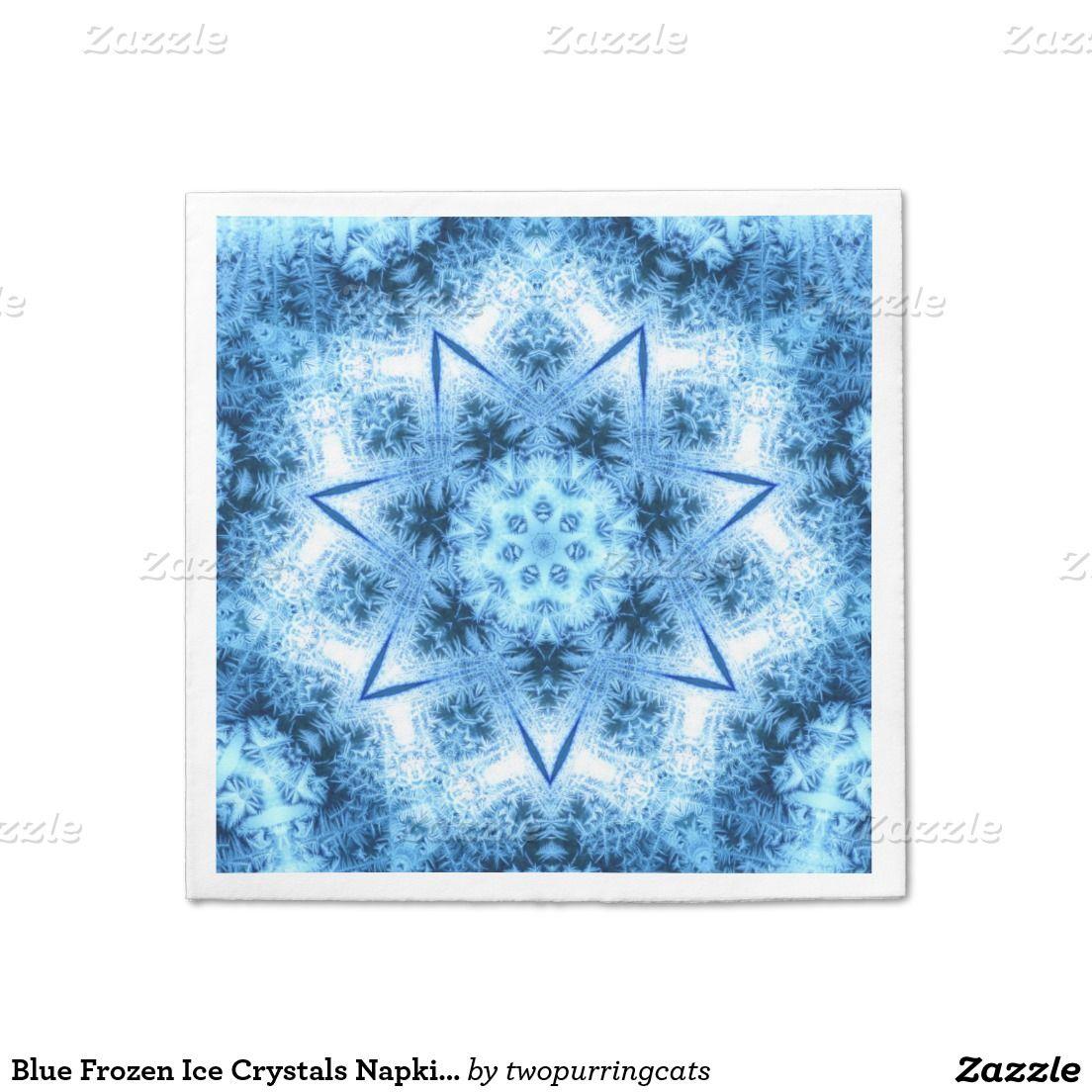 Blue Frozen Ice Crystals Napkins Standard Cocktail Napkin