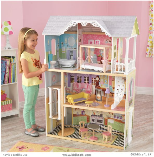 Kaylee Dollhouse Elegant Southern Mansion Complete With A 4 Post Canopy Bed And A Picket Fence 10 Pieces Of Doll Kids Doll House Doll House Wooden Dollhouse