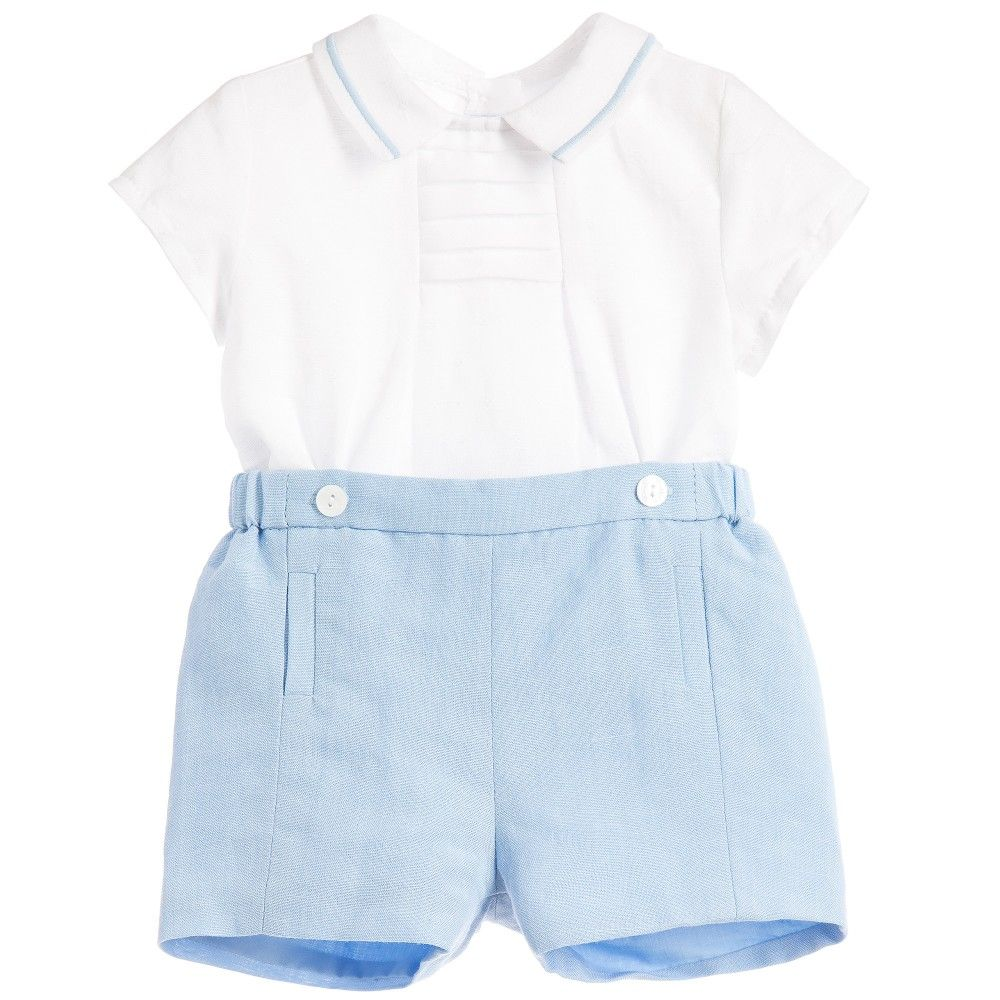 Mayoral Baby Boys Pale Blue Linen Cotton Buster Suit at ...