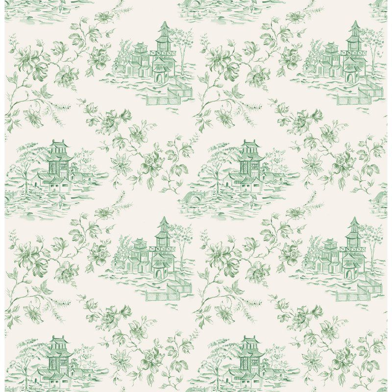 A Street Prints Laure Toile Wallpaper Green Toile
