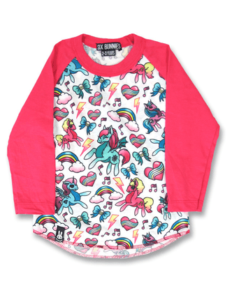 SIX BUNNIES UNICORN PINK Raglan