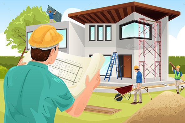 architect working at the construction site  vector eps  cs