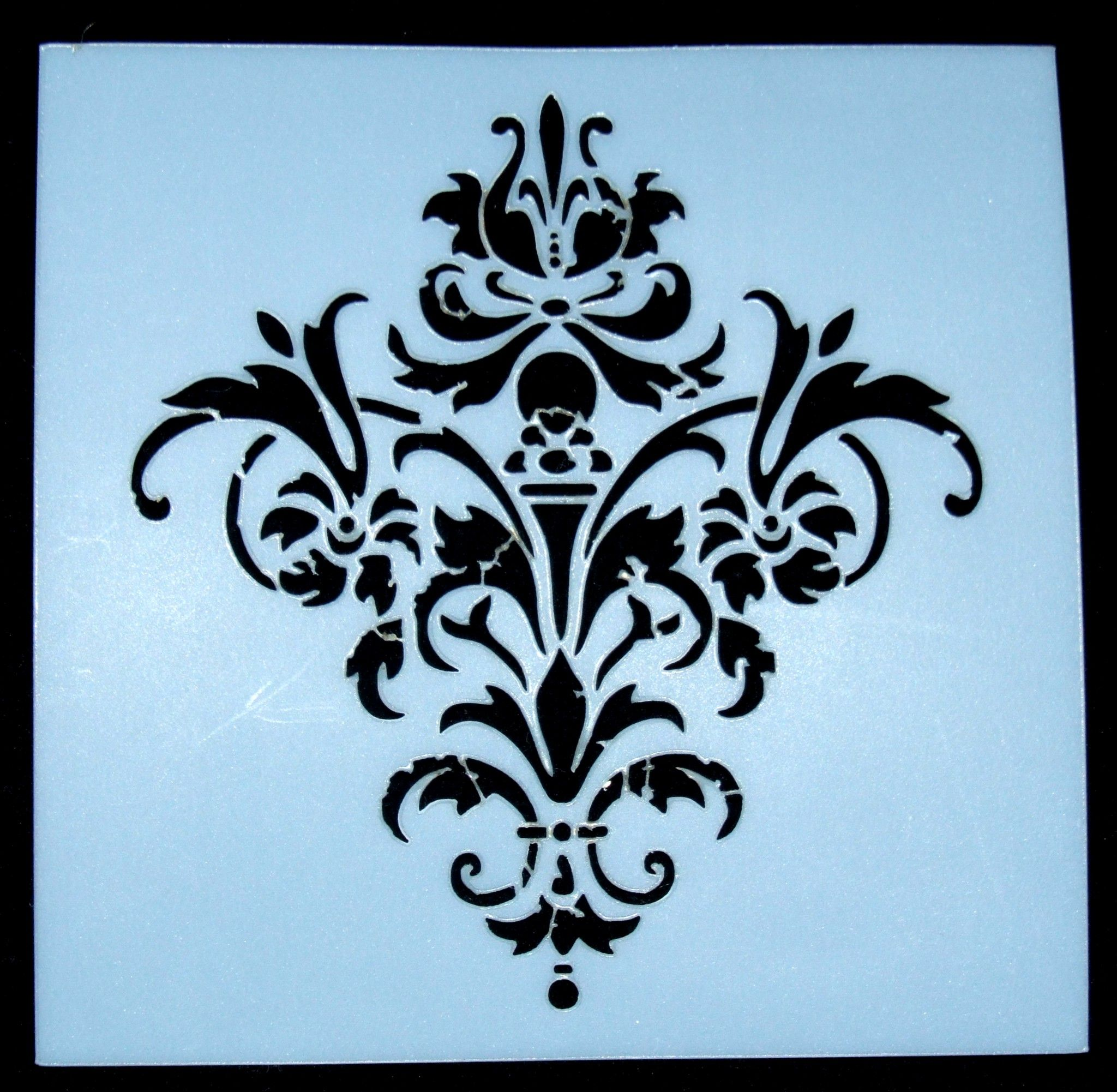 Wall Design With Stencils : Damask pattern design stencil on tacky back