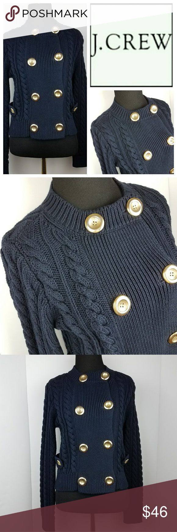 J. Crew Navy Cable Knit Sweater Cardigan Gold Gorgeous knit and ...