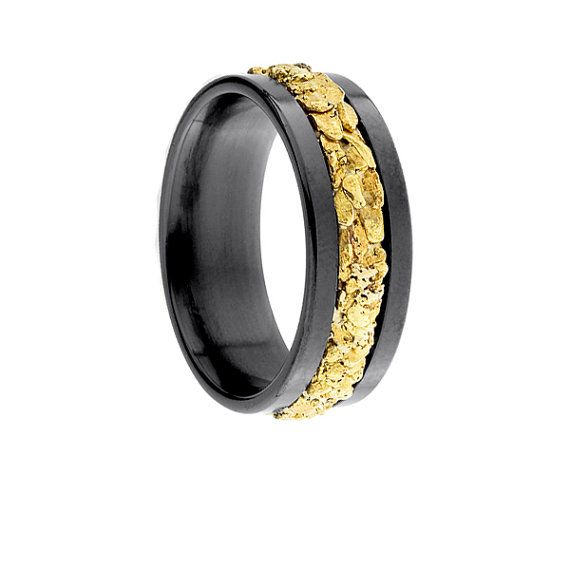 fa05cbf740a78 8mm Black Zirconium Ring Flat with Lowered Center and Gold Nugget ...