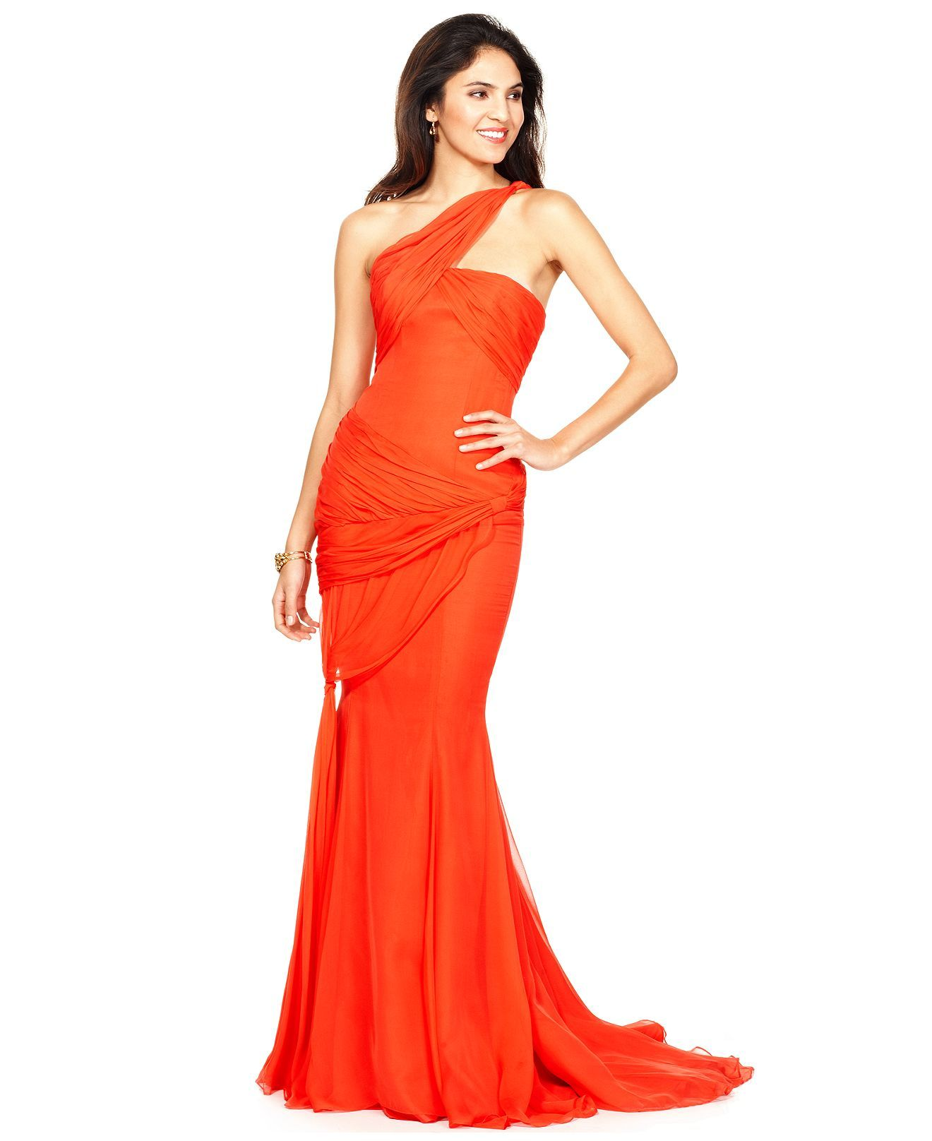 love the color...bright orange evening gown | Shades of Oranges ...
