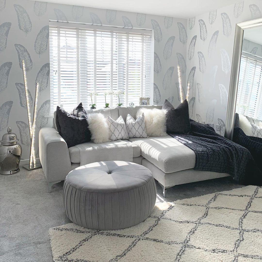 Grey Feather Wallpaper Living Room Ideas Cosy Grey Living Room Living Room Inspiration Living Room Grey