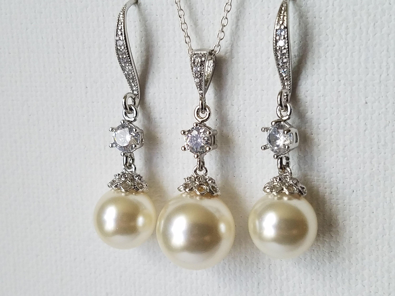 Pearl Bridal Jewelry Set, Swarovski Ivory Pearl Ea