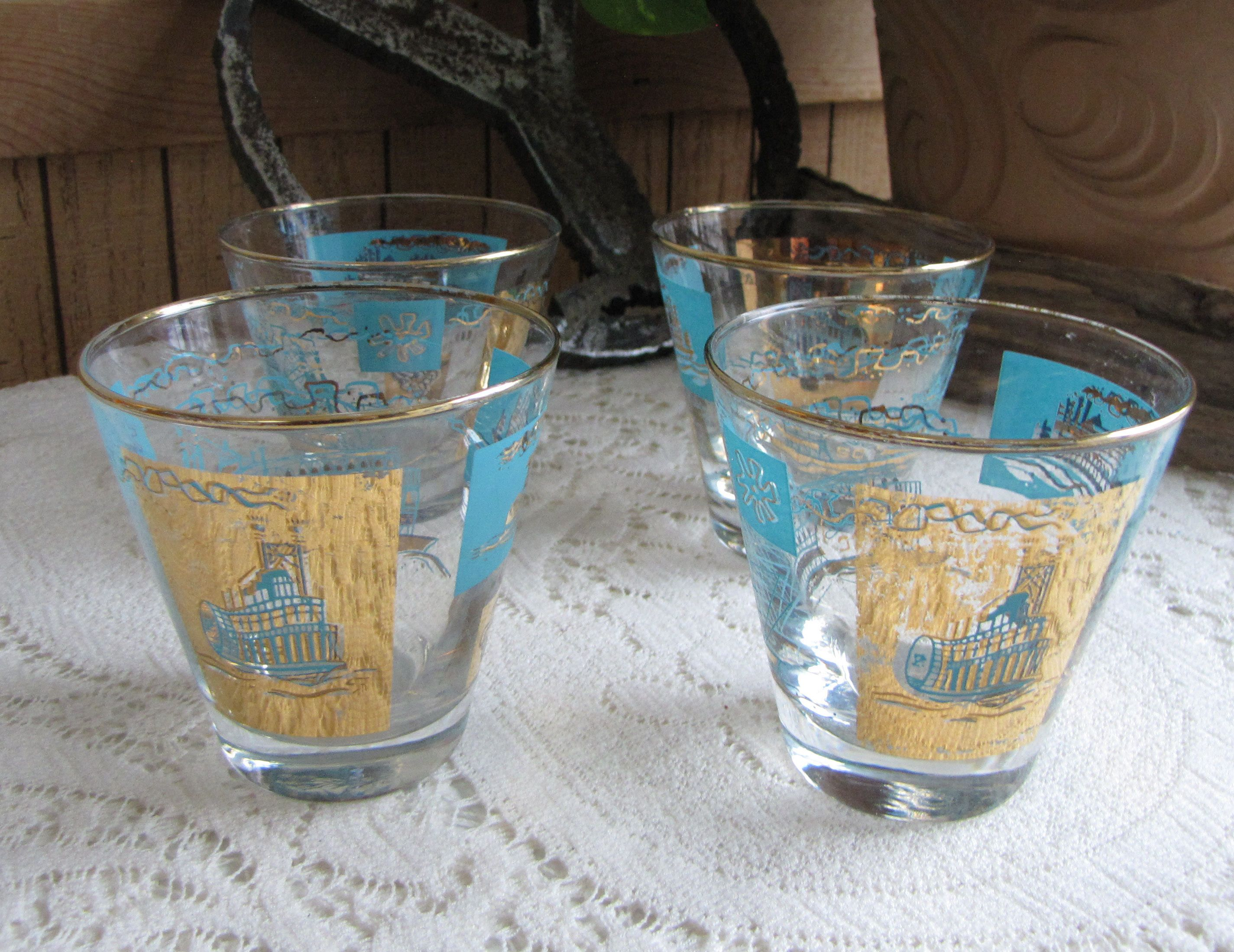 Riverboat Rock Glasses Gold And Turquoise Southern Comfort Promotional  Federal Glass Co. Barware Vintage Bar