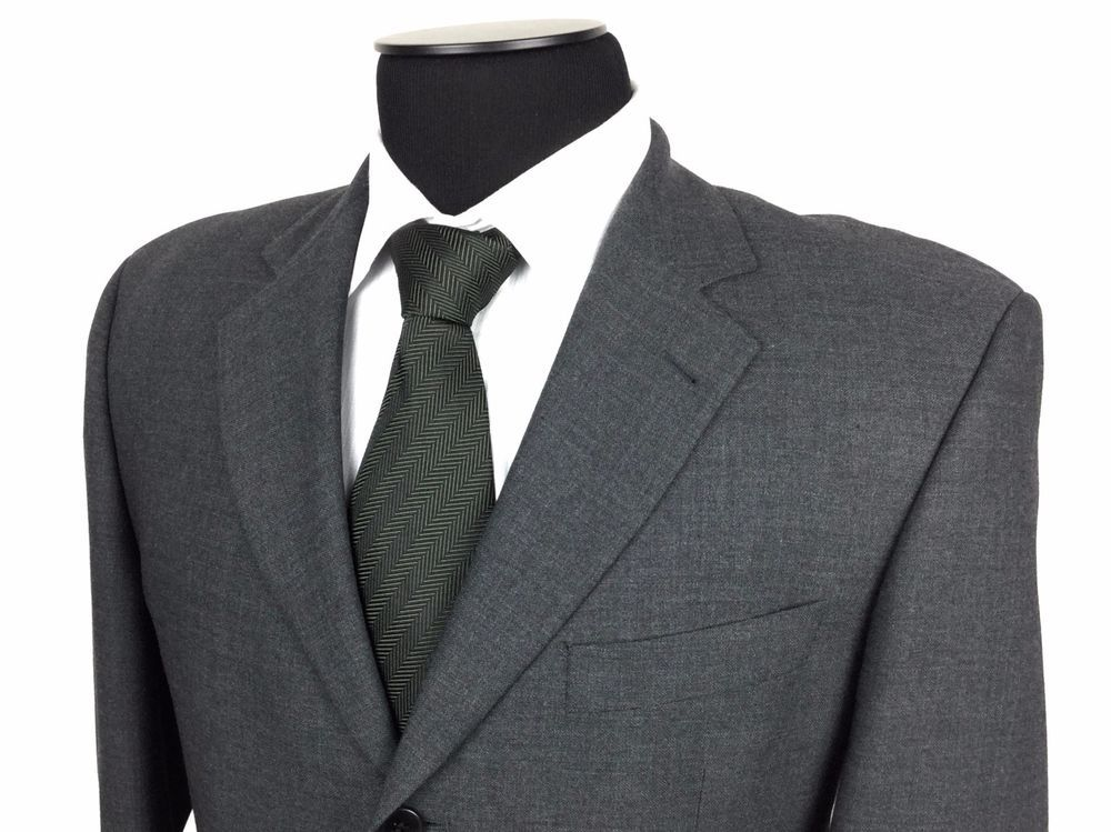HUGO BOSS Einstein Mens 40R Charcoal Gray Pure Wool 3-Button Sport Coat/ Jacket