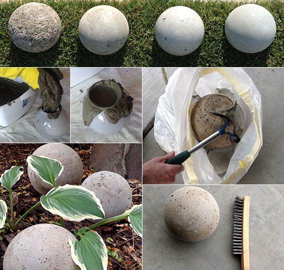 gartenkugeln basteln aus beton als beispiel für moderne, Gartenarbeit ideen