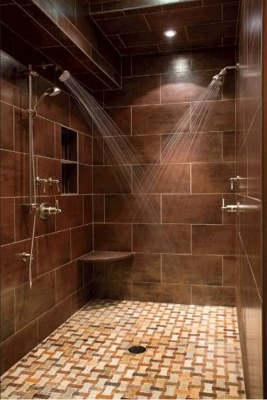 Attirant Bathroom Design: Dual Shower Designs And Brown Tile Wall And Recessed  Ceiling Also Tile Pattern For Modern Bathroom Design, Double Shower Head,  ...