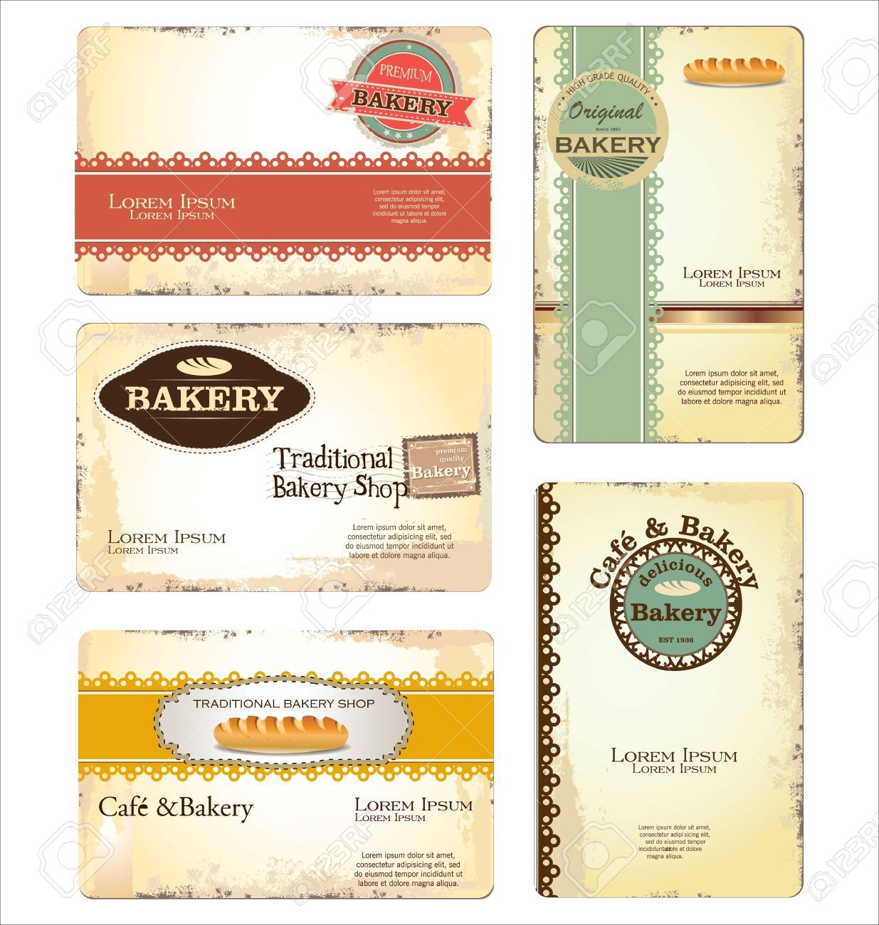 Vintage Bakery Business Cards Set Of 5 Card