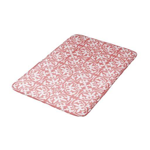 Ikat Damask Pattern Coral Pink And White Bath Mat Zazzle Com