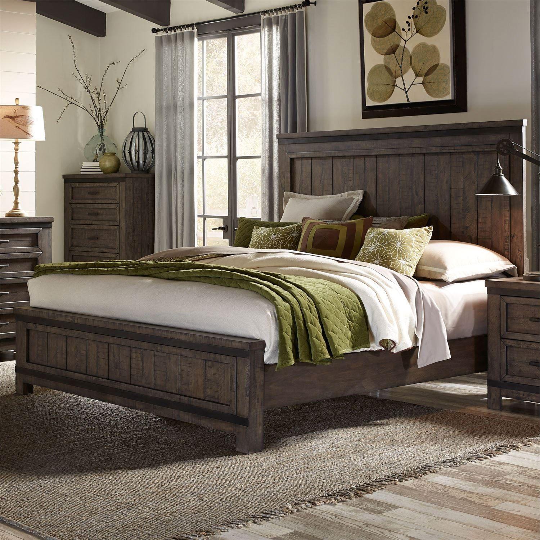 Best Rustic Gray 4 Piece Queen Bedroom Set Thornwood Hills 400 x 300