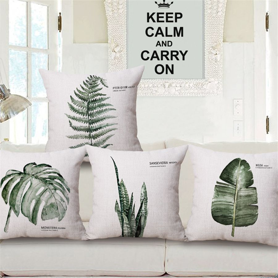 Tropical green leaves nordic plant floral decorative sofa throw