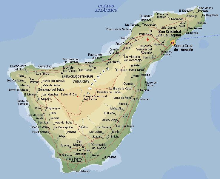 Map Of Tenerife Con Imagenes Tenerife Islas Islas Canarias