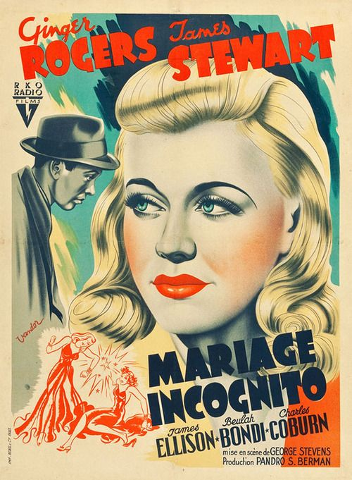 Vivacious Lady Ginger Rogers James Stewart movie poster