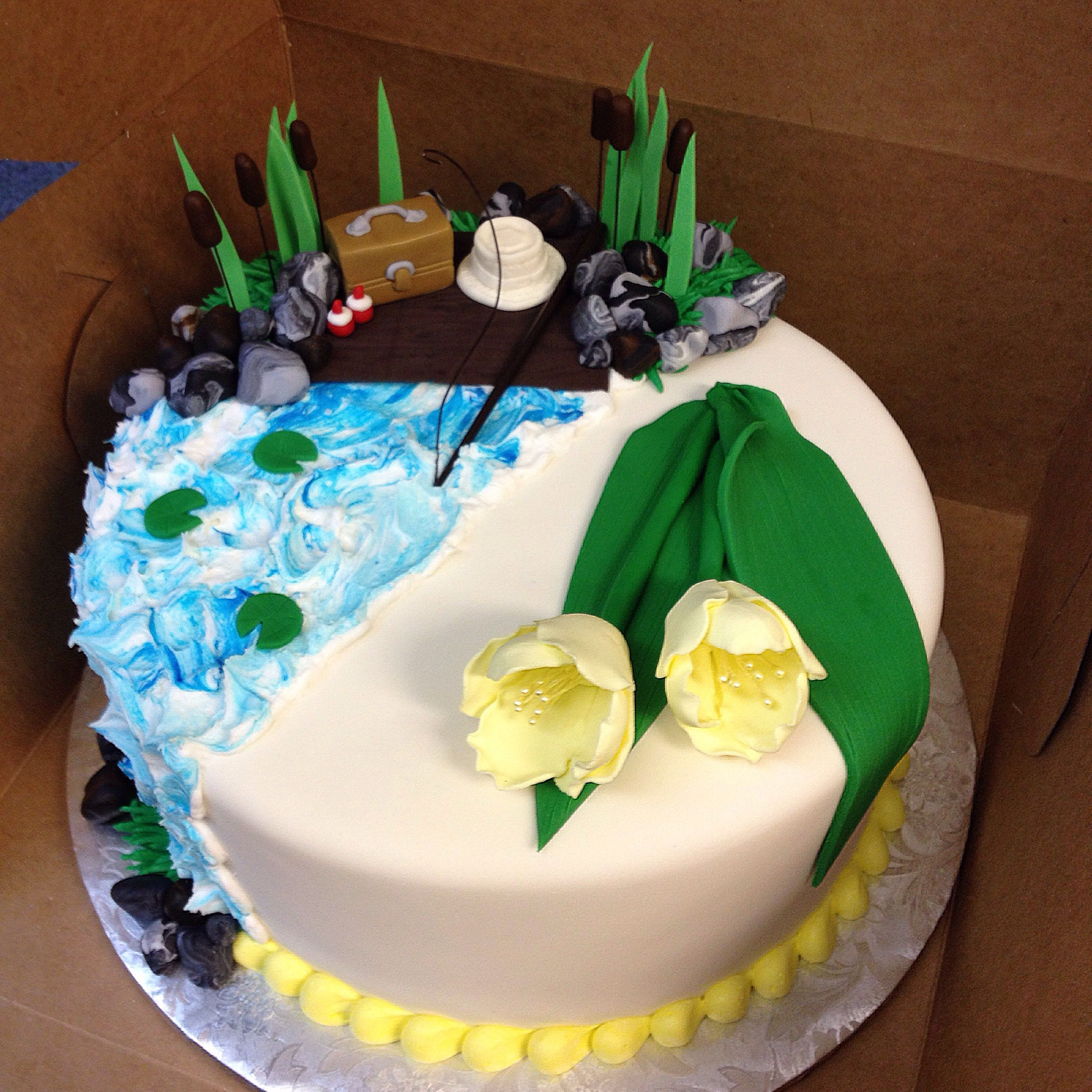 Split Cake For A Shared Birthday Mother And Son Fishing And
