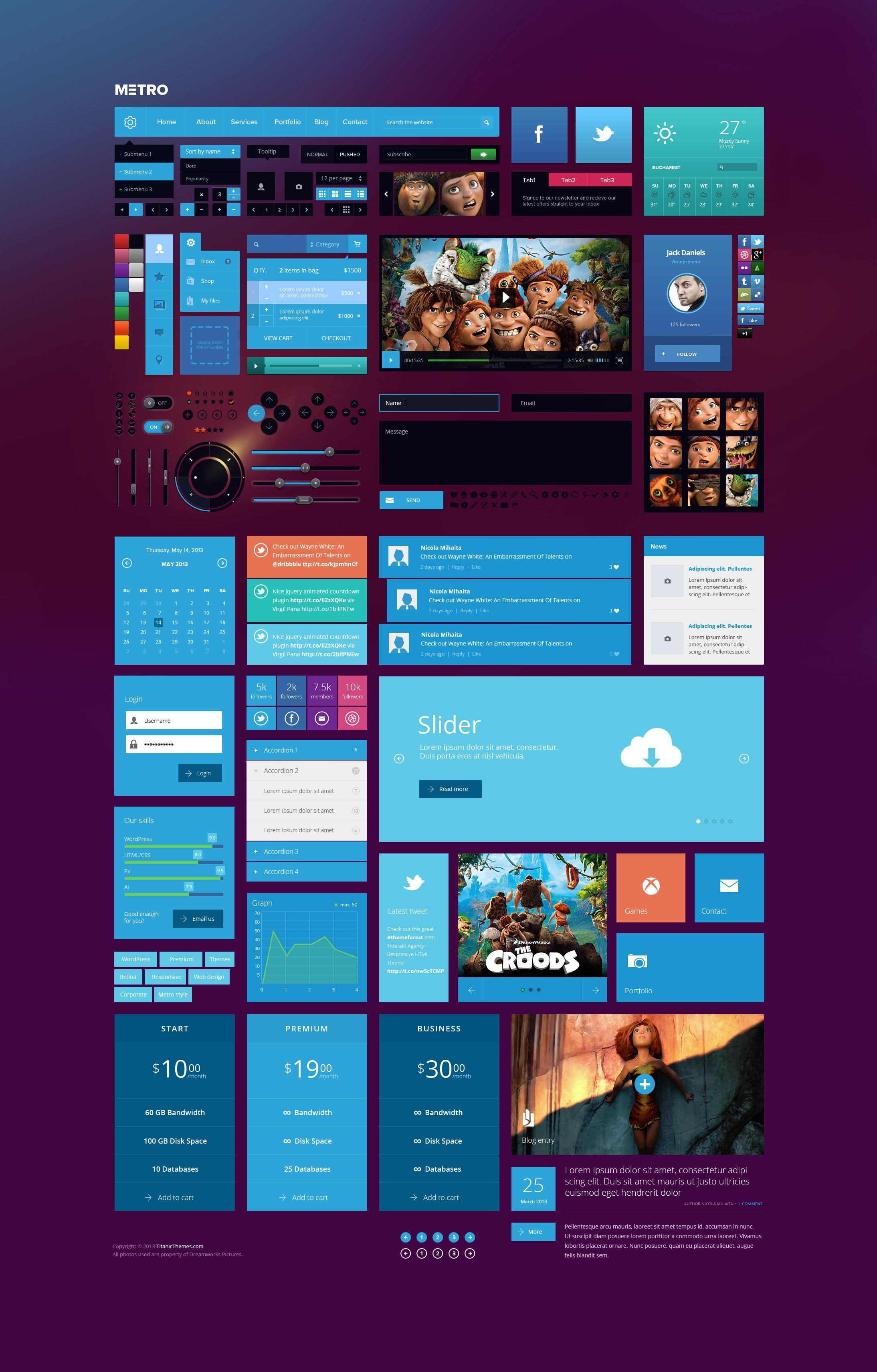 Metro style Ui Kit | Web Design / UI / UX | Web ui design ...