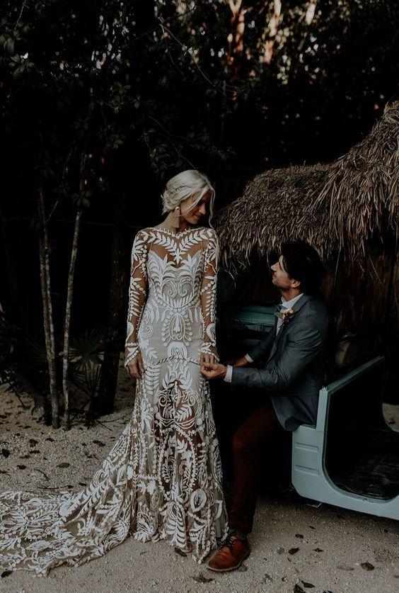 Modest wedding dress mermaid lace wedding dresses with long sleeves #bohoweddingdress