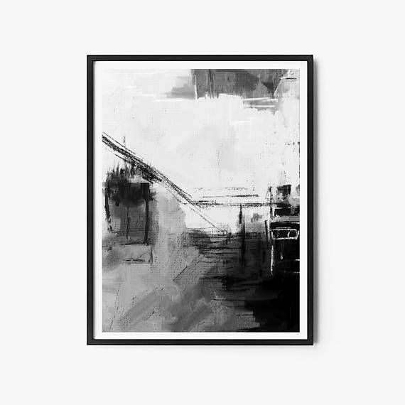 Set of 2 black and white prints 24 x36 in printable art set abstract