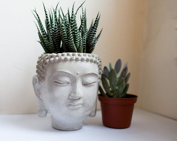 Amazing Buddha Head Planter 4 Cement Plant Pot Concrete от Brooklynglobal