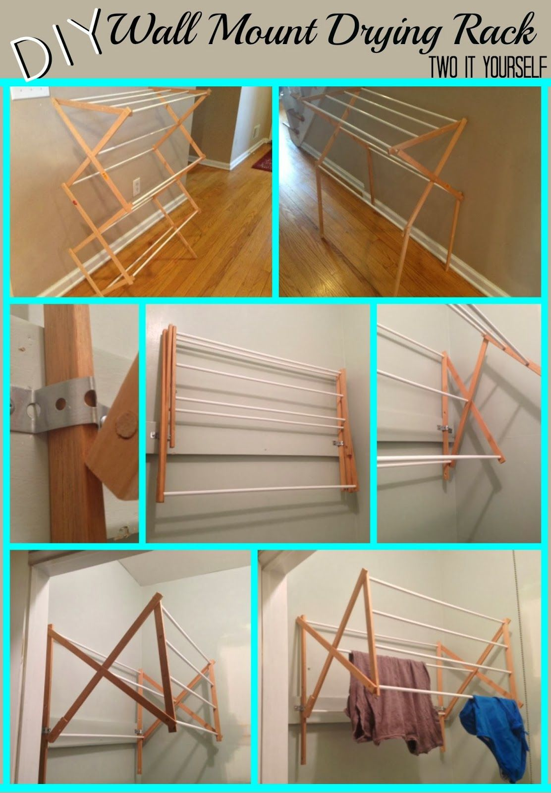 Two it yourself diy laundry drying rack wall mount from floor