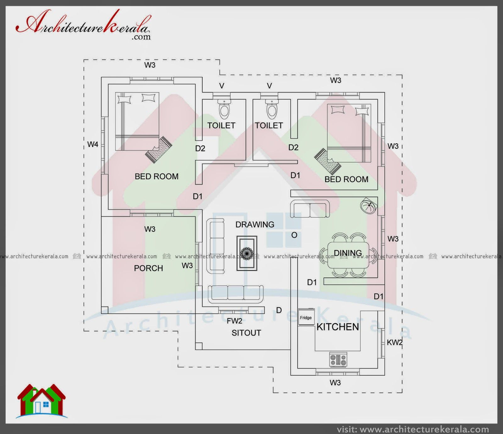 East facing two bedroom house plan plans pinterest for Kerala house plan 3 bedroom