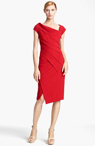 Donna Karan Red Dress New York Collection Matte Jersey In Lipstick