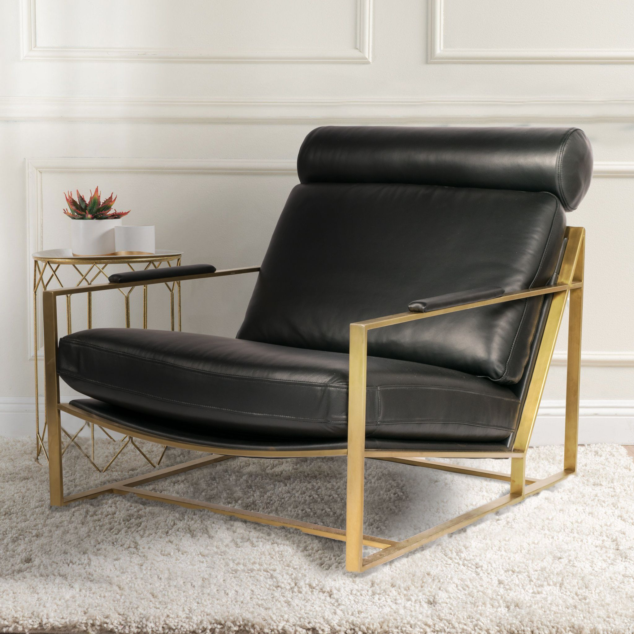 Kavuus Americana Chair In Italian Black Leather And Polished