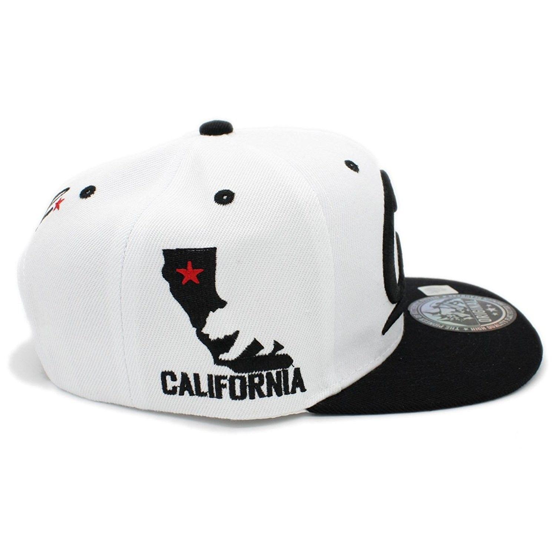 1a57fa0b707 Embroidered Cali With California Map Snapback Cap - White Black ...