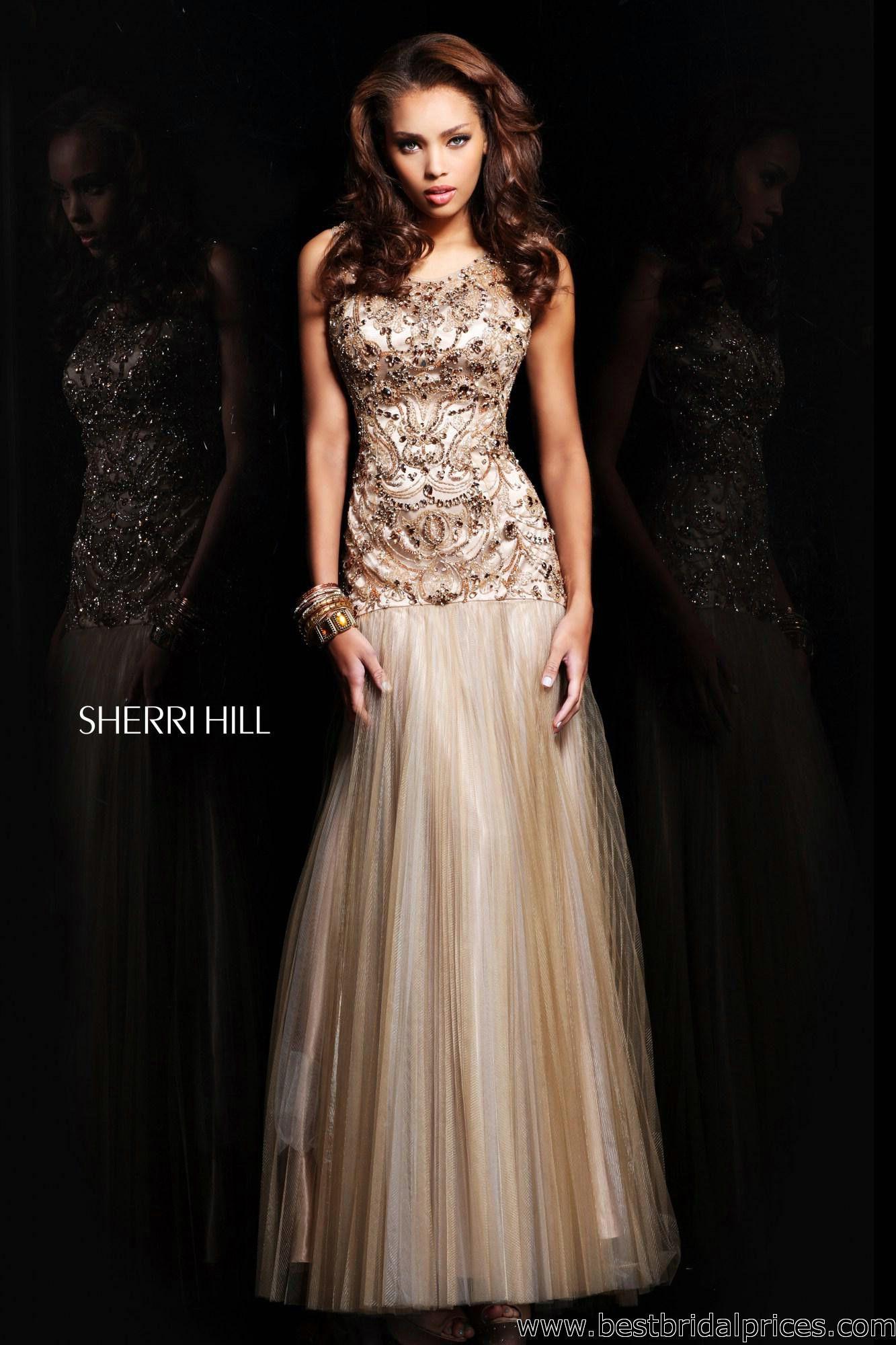 Gold beaded dress prom dressessherri hill pinterest gold