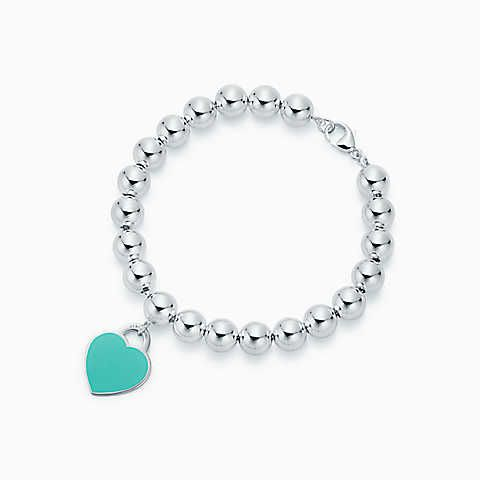 Return to Tiffany® heart tag in sterling silver on a bead bracelet, medium.