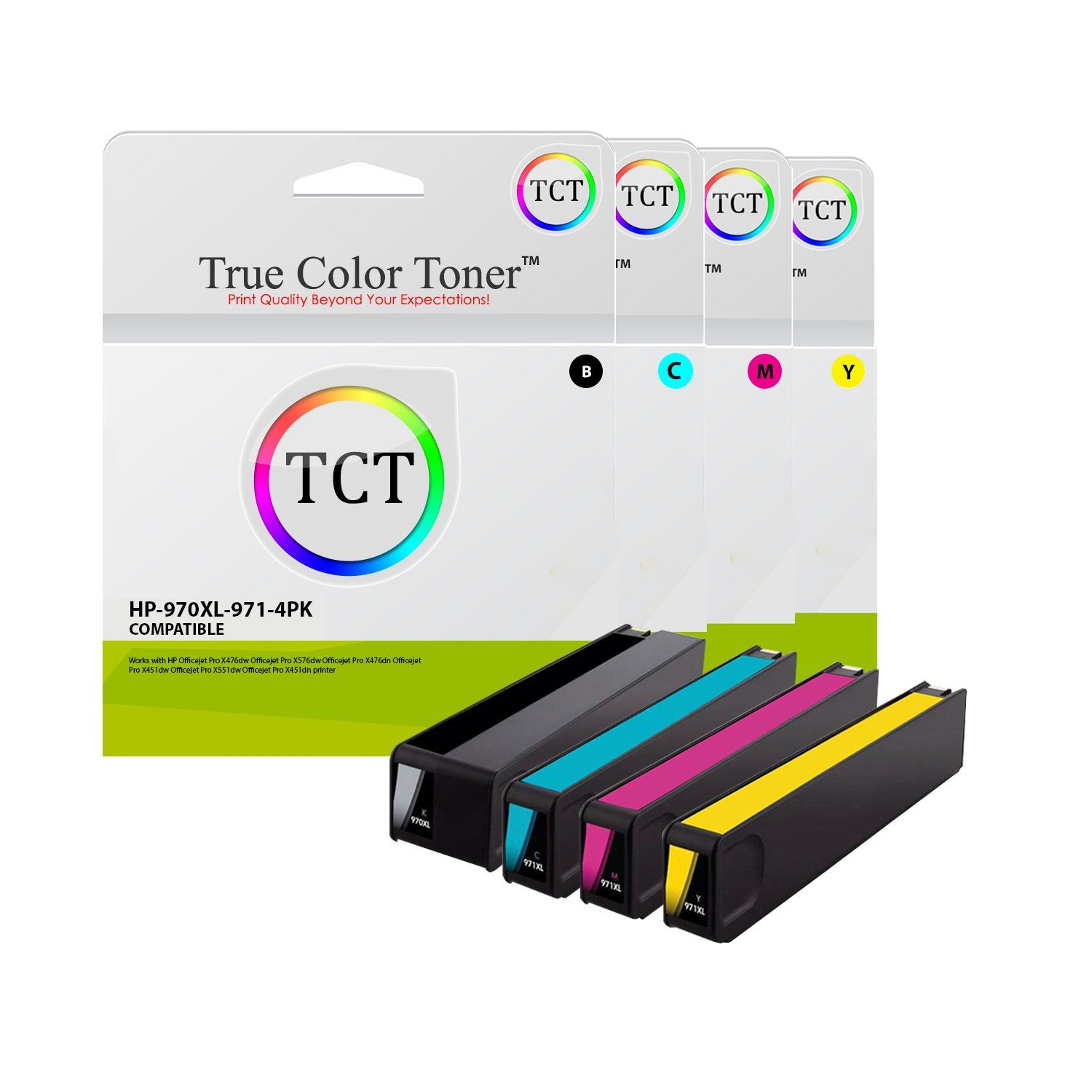 Tct Compatible Ink Cartridge Replacement Hp 970xl 971xl Works With Hp Officejet Pro X451dn X451dw Ink Cartridge Color Cartridges Cartridges