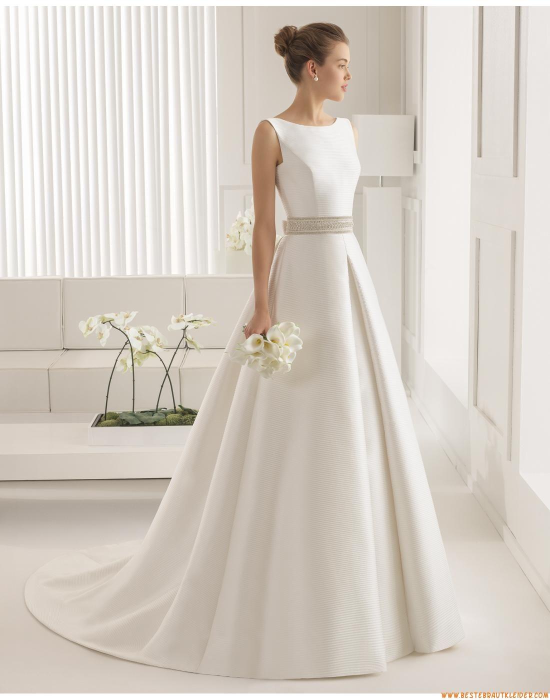 A Linie Exklusive Ausgefallene Brautkleider Aus Satin Mit