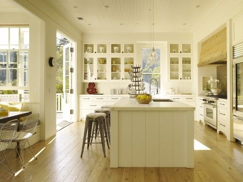 gorgeous white modern farmhouse kitchen; like the layout with the breakfast nook and French doors