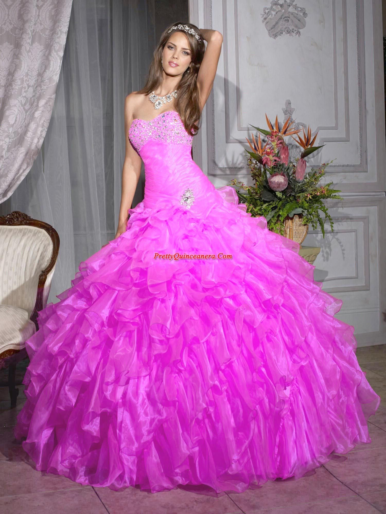Pink quinceanera gown dress fashionable detachable ball gown